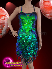 CHARISMATICO Fluorescent blue and green dancing girl's backless mini dress