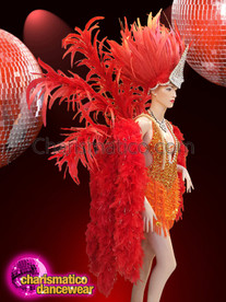 CHARISMATICO Fiery Red Carnivalesque Costume Set With Sequined Dress And Feathered Headdress