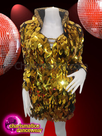 CHARISMATICO Disco Themed Shimmery Sequined Gold Diva Dress And Borelo