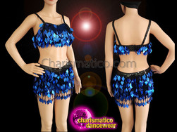 CHARISMATICO Royal Blue Sequined Bra Top And Shorts With Fringes