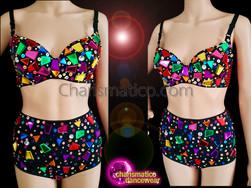 CHARISMATICO Visually Impressive Gem Studded Rainbow Bra Top And Shorts