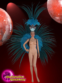 CHARISMATICO Stunning blue pheasant feather wings and headdress set
