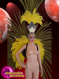 CHARISMATICO Attention Seeking Yellow Pheasant Feather Wings And Headdress