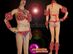 CHARISMATICO Look sizzling charming red-colored Brazilian dance costume