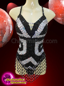 CHARISMATICO Illusion Silver Black showgirl Sequin leotard