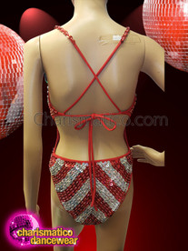 CHARISMATICO Illusion Silver Red Showgirl Sequin Leotard