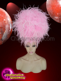 CHARISMATICO  Queen Sweet Pink Ostrich Style Head Gear