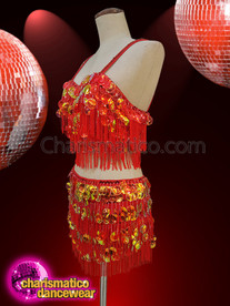 CHARISMATICO Cabaret Red Color Dance Fringe Cut Top And Skirt