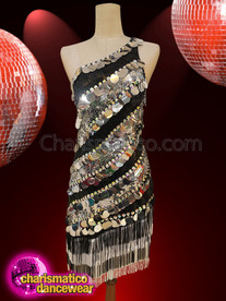 CHARISMATICO Glitz & Glamour Black And Silver One Shoulder Dress
