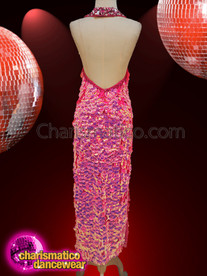 CHARISMATICO  Halter top Valentine Pink Sequin detailed gown