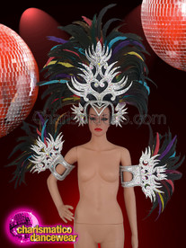 CHARISMATICO  All Feathery Silver Headdress And Arm Guard