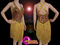 CHARISMATICO Brown And Golden Sequin Salsa Fringe Dance Dress