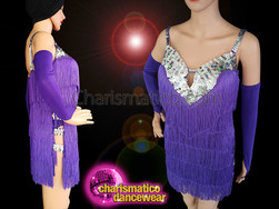 CHARISMATICO Sways Latin Salsa Dance Purple Fringe Dress