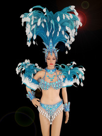 CHARISMATICO A Stunning Blue Costume With Dramatically Gorgeous Designed Head And Arm Gears