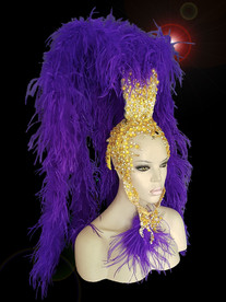 Charismatico  Showgirl Purple ostrich boa Gold crystal Headdress