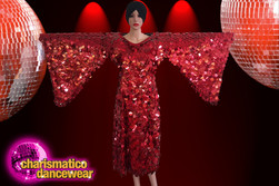 CHARISMATICO Gorgeous Red Sequin Long Gown With Dramatic Big Wing Sleeves