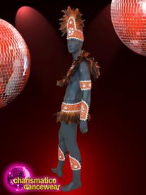 CHARISMATICO Orange and white men samba feather headgear Costume set
