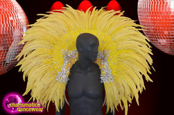 CHARISMATICO  Bright Yellow Diva Huge Feathers And Beautiful Crystals Backpack