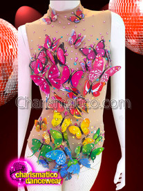 CHARISMATICO Gorgeous Multi-Colored Rainbow Gay Pride Butterfly Leotard