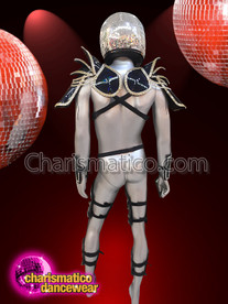 CHARISMATICO Silver Men'S Costume With Helmet For The Male Dance Performers