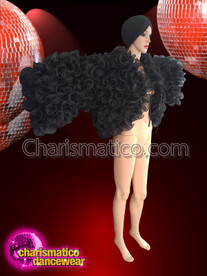 CHARISMATICO Multi Ruffled Drag Queen Black Organza Jacket