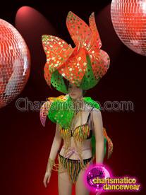 CHARISMATICO Sexy Beaded Bra Thong Flower Costume Set