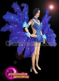 CHARISMATICO Blue Crystal Leotard Costume Set With Ostrich Cuffs