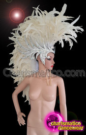 CHARISMATICO Large White Feathered Mohawk Head Dress