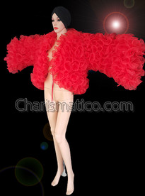 CHARISMATICO Multi Ruffled Red Diva Organza Jacket