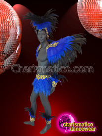 CHARISMATICO Blue And Black Feather Costume Set for Men