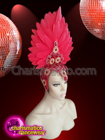 CHARISMATICO Red Diva Shining And Smoothed Beautiful Feather Headdress