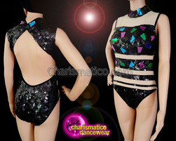 CHARISMATICO Get The Best Sex Appeal With Bright And Bold Black Sequined Leotard