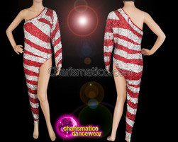 CHARISMATICO Bare Your Leg In A Sexy Way With Red And Silver Shiny Catsuit