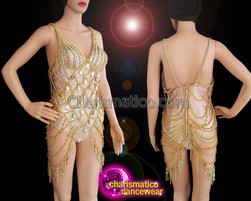 CHARISMATICO Burlesque Chain And Teardrop Beads Work Gold Sexy Leotard