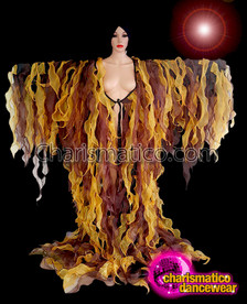 CHARISMATICO  Turn On The Flames With This Fiery Yellow Drag Queen Tissue Coat