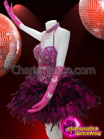 CHARISMATICO Gorgeous Fuchsia Halter Neck Dress With Beads And Feather Details