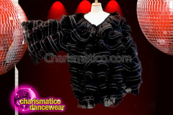 CHARISMATICO Black Over Sized Jacket With Ruffles All Over For Drag Queen