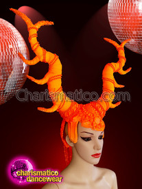 CHARISMATICO  Orange Beads Halloween Majestic Horn Headdress