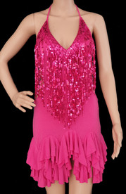 Fuchsia Salsa Dance ruffle Dress Clearance Us 2-6