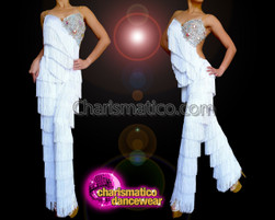 Floral Crystallized White Dance Latin Salsa  Samba Fringe Catsuit Pants