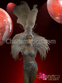 Charismatico Crystal Encrusted White Ostrich Feather Headdress and Collar Set