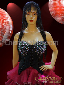 CHARISMATICO Bustier Style Beaded Black Corset + Double-Layer Pink Ruffled Skirt