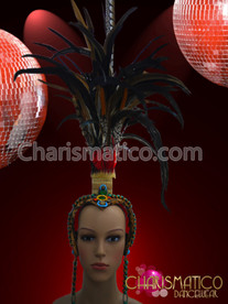CHARISMATICO Native American Indian Inspired Headdress Natural Exotic Feather