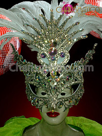 CHARISMATICO Mysterious Iridescent Crystal and Rhinestone Covered Oversize Venetian Feather Mask