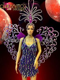 CHARISMATICO Purple Mirror Embellished Wing, Headdress, And Mini-Dress Cabaret Set