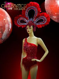Fantastic Iridescent Red Beaded Fringe Leotard and Matching Feathered Headdress