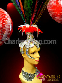 CHARISMATICO Gay Pride Rainbow-Dyed Feather Headdress With Silver Mirrored Openwork Cap