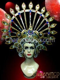 CHARISMATICO Bejeweled Gold Circular Headdress With Sapphires Rubies Emerald Crystals Drag Queen Headdress