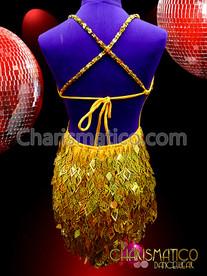CHARISMATICO Shiny Gold Sequin Diva SALSA Latin Dance Dress With Flashy Cutout