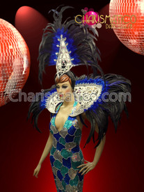 CHARISMATICO Patchwork Blue Sequin Drag Pageant Gown With Matching Headdress And Collar
